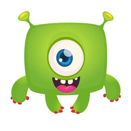 Funny cartoon laughing monster cyclops. Vector Halloween illustration