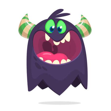 Angry cartoon ghost. Halloween illustration