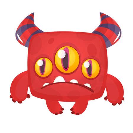 Sad cartoon monster. Vector Halloween illustration Illusztráció