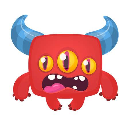 Funny cartoon excited laughing monster. Vector Halloween illustration 版權商用圖片 - 147822345