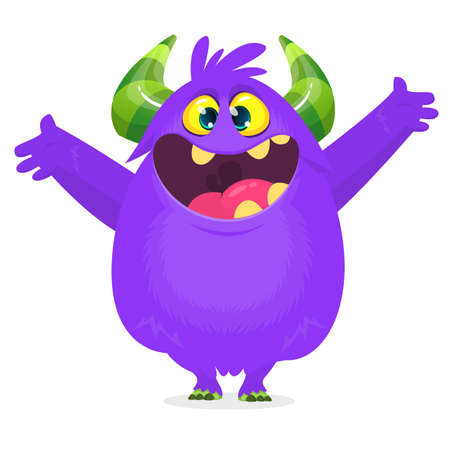Happy cartoon excited smiling monster. Vector Halloween illustration