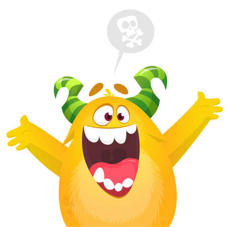 Happy cartoon excited smiling monster. Vector illustration 版權商用圖片 - 147822365