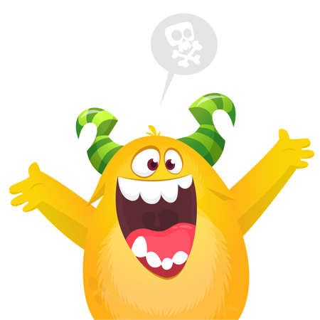 Happy cartoon excited smiling monster. Vector illustration 向量圖像