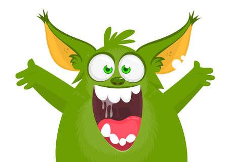 Happy cartoon excited smiling monster. Vector illustration 版權商用圖片 - 147822668