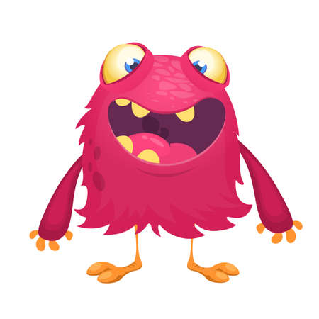 Happy cartoon excited smiling monster. Vector alien character illustration 向量圖像