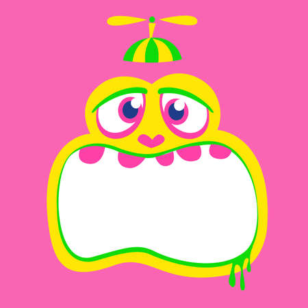 Angry cartoon monster face. Vector Halloween monster square avatar
