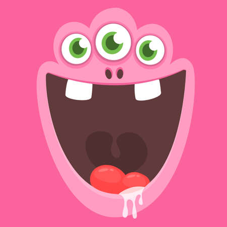 Cute cartoon monster face with three eyes. Vector monster square avatar 向量圖像
