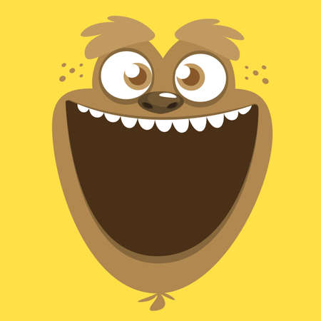 Cute cartoon monster face. Vector Halloween monster square avatar
