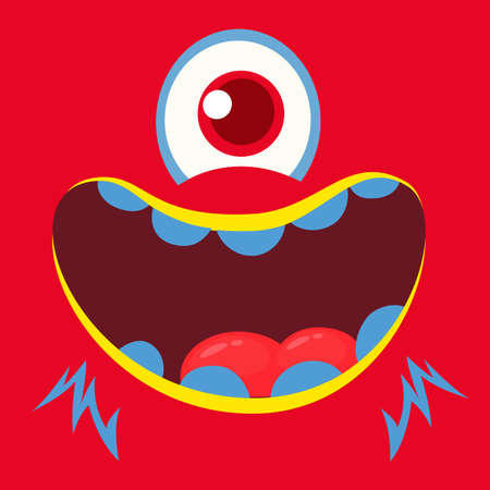 Cute cartoon monster face cyclops. Vector Halloween monster square avatar