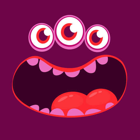 Angry cartoon monster face. Vector Halloween monster square avatar 向量圖像