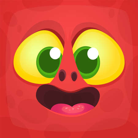 Funny cartoon monster face. Vector Halloween monster square avatar