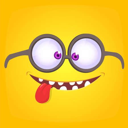 Funny cartoon monster face wearing eyeglasses. Vector Halloween monster square avatar