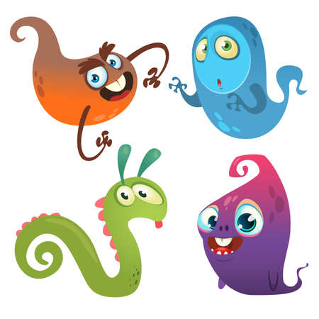 Funny cartoon monsters set. Halloween design 向量圖像