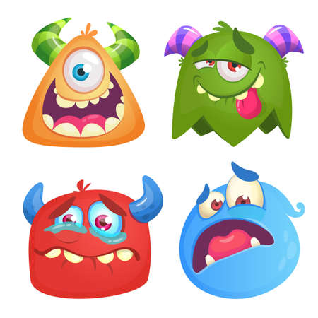 Funny cartoon monsters icons set. Halloween vector illustration