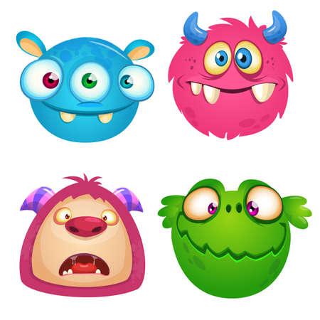 Funny cartoon monsters icons set. Halloween vector illustration