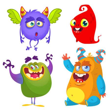 Cute cartoon Monsters. Set of cartoon monsters: ghost, goblin, bigfoot yeti, troll, dragon and alien . Halloween design Vettoriali