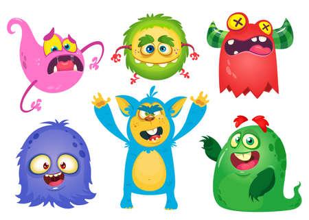 Funny cartoon monsters. Halloween vector illustration
