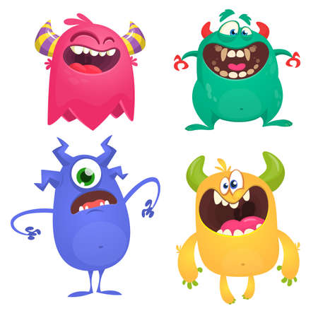 Cute cartoon Monsters. Set of cartoon monsters: ghost, goblin or troll, cyclops and alien . Halloween design