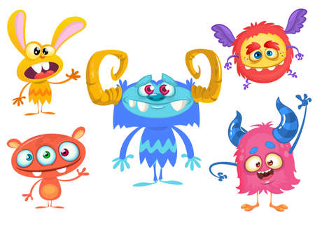 Cute cartoon Monsters. Set of cartoon monsters: bigfoot yeti, troll, monster  and alien . Halloween vector design 向量圖像