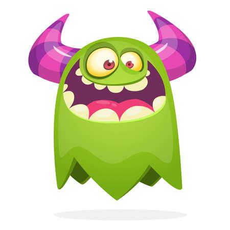 Cartoon happy monster. Halloween illustration of excited monster. Vector