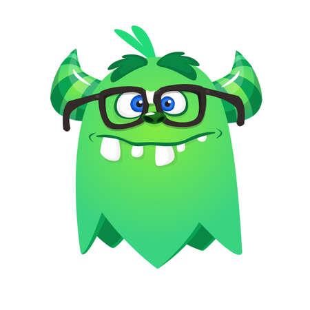 Cartoon funny monster wearing eyeglasses. Illustration of excited monster design