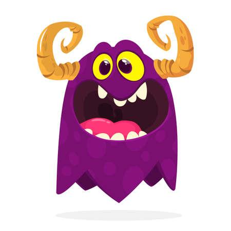 Cartoon angry monster. Halloween illustration of scary little monster