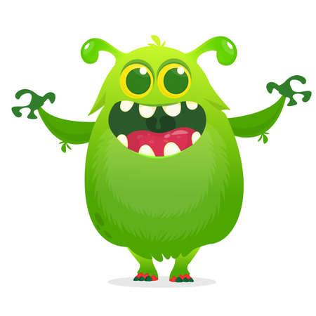 Cartoon green furry monster. Halloween vector illustration of excited monster