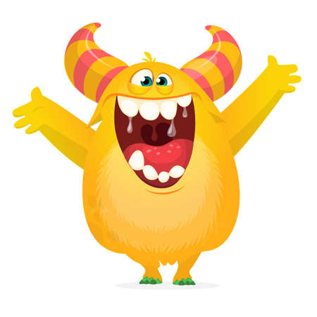 Funny cartoon monster character with laughing excited emotion. Vector illustration