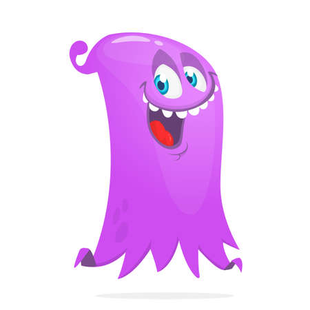Cute cartoon flying monster. Vector illustration of funny ghost character