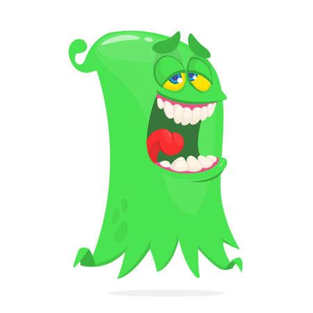Happy cartoon flying monster. Vector illustration of funny ghost character Illusztráció