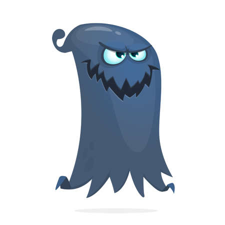 Grim angry cartoon flying monster. Vector illustration of ghost