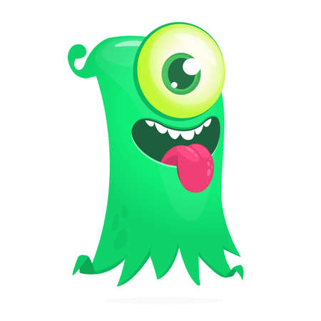 Happy cartoon flying monster with one eye. Vector illustration of funny ghost character  イラスト・ベクター素材