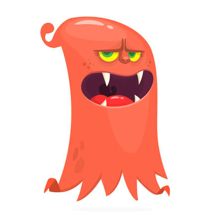 Angry cartoon flying monster. Vector illustration of funny alien. Halloween design