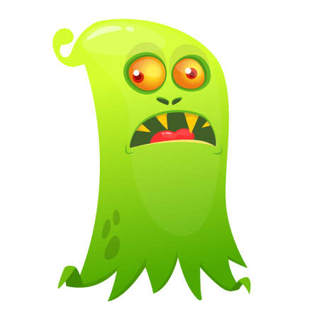 Angry cartoon flying monster. Vector illustration of scary grim ghost character