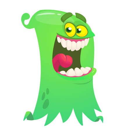 Happy cartoon flying monster. Vector Halloween illustration of funny ghost character