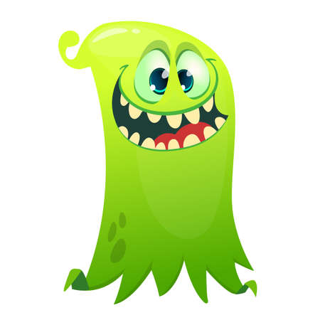 Happy cartoon flying slimy ghost. Vector illustration of funny ghost character
