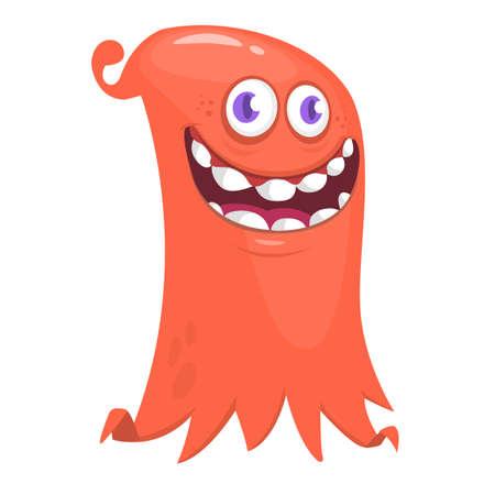 Scary cartoon monster smiling emotion. Vector illustration of funny ghost character
