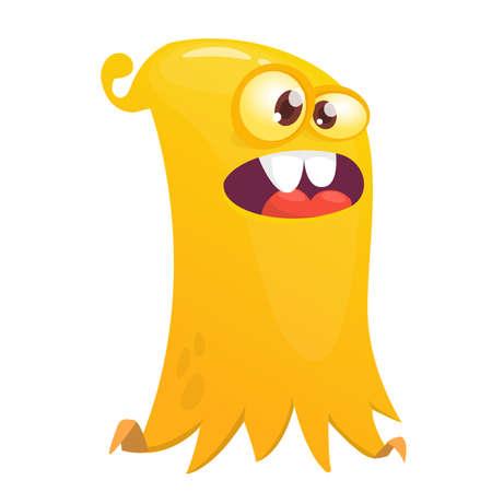 Scared cartoon flying monster. Vector illustration of funny ghost character Illusztráció