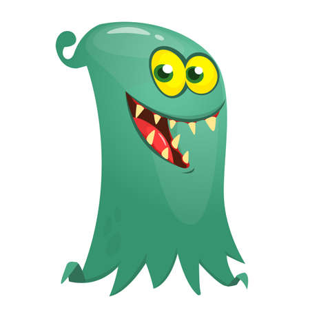 Happy cartoon flying monster. Vector illustration of funny ghost character 向量圖像