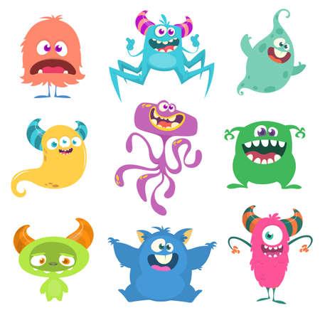 Cute cartoon Monsters. Set of cartoon monsters: goblin or troll, cyclops, ghost, monsters and aliens. Halloween design Ilustración de vector