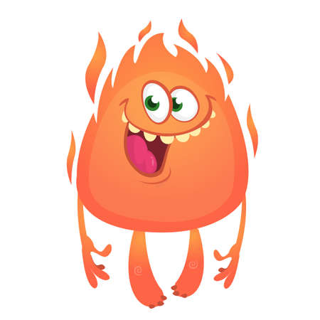 Funny cartoon monster with fire head. Vector illustration of cute monster character Illustration