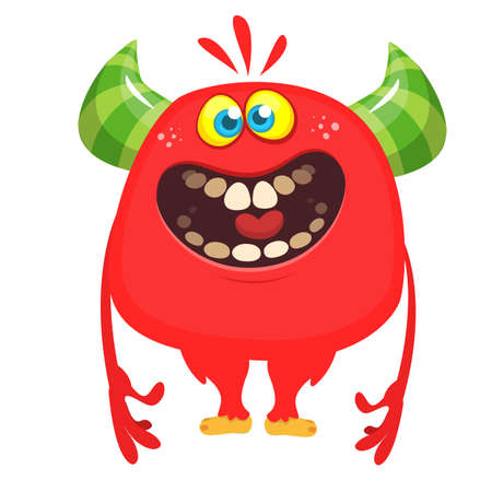 Funny cartoon monster. Vector illustration of cute monster character