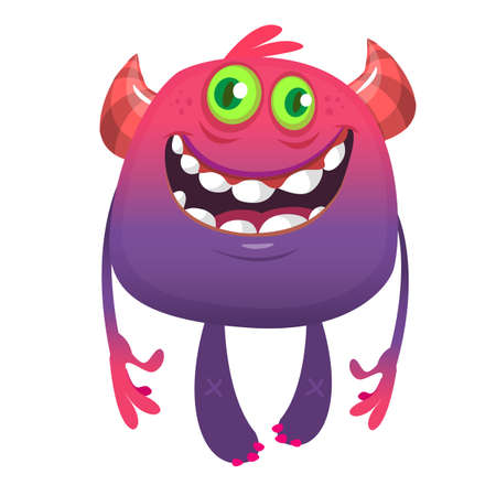 Funny cartoon monster. Vector illustration of cute monster creature