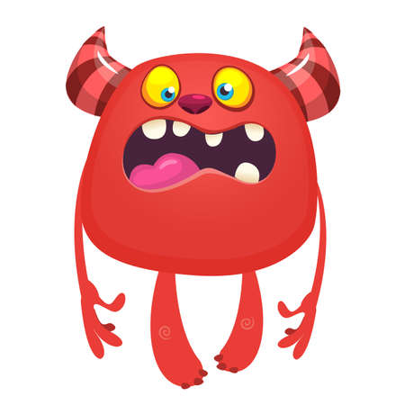 Angry cartoon monster. Vector illustration of cute monster. Halloween design