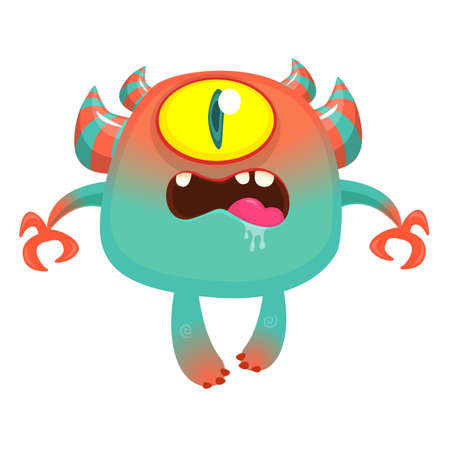 Funny cartoon monster with one eye. Vector illustration of cute monster cyclops Illustration