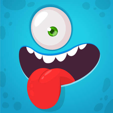 Funny cartoon monster face expression showing tongue. Vector Halloween monster square avatar