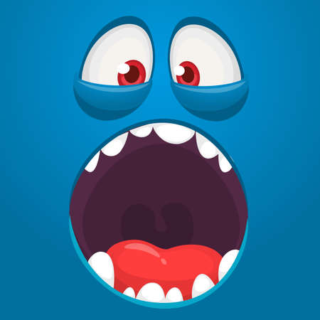 Hungry cartoon monster face with opened mouth. Vector Halloween monster square avatar
