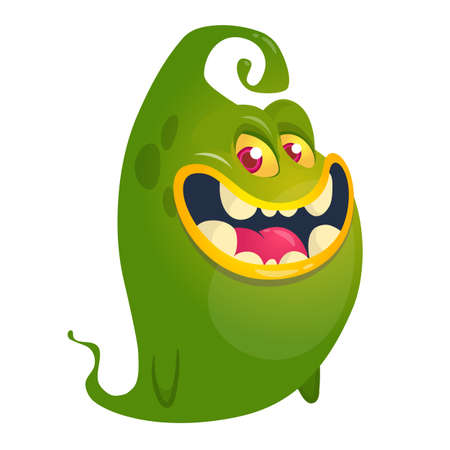 Funny cartoon flying monster. Vector illustration. Halloween design