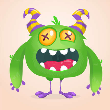 Happy cartoon monster. Laughing monster face emotion. Halloween vector illustration