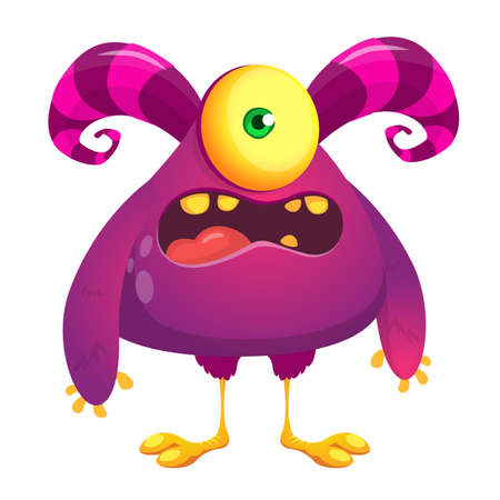 Funny cartoon excited monster. Vector illustration